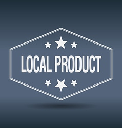 Local product hexagonal white vintage retro style vector