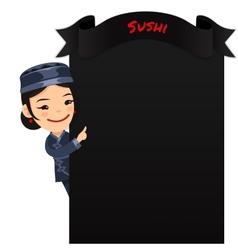 Asian Female Chef Looking at Blank Menu vector image vector image