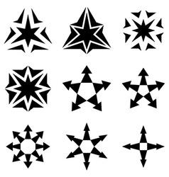 black star arrow symbols vector image vector image