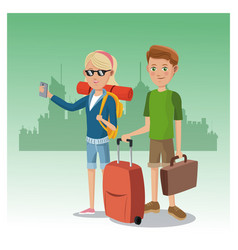 Boy and girl suitcase rucksack smartphone glasses vector