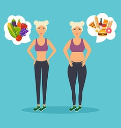 Cartoon character of fat woman and lean girl diet vector