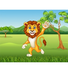 Cartoon funny lion waving on nature background vector image vector image