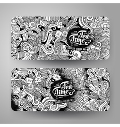 Cartoon line art doodles tea banners vector