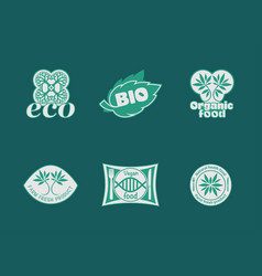 eco food stickers vector image vector image
