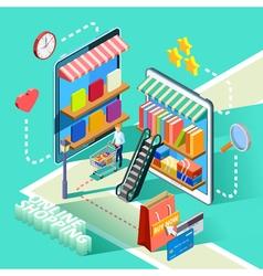 Ecommerce online shopping isometric design poster vector