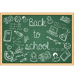 Education back to school icons over green vector image