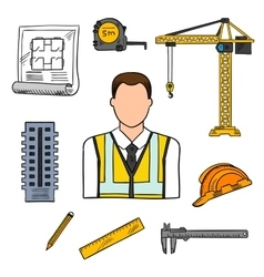 Engineer sketch icon for civil engineering design vector