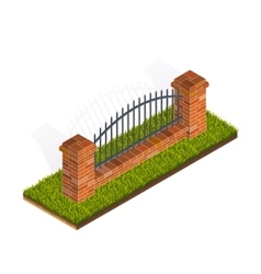 Fence isometric vector