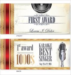 First award card karaoke template vector