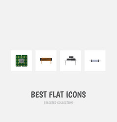 Flat icon technology set of destination resistor vector
