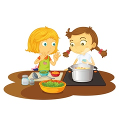 Girls cooking vector image vector image