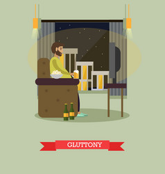 gluttony concept in flat style vector image