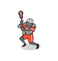 Gorilla lacrosse player cartoon vector