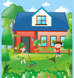 Kids raking leaves at home vector