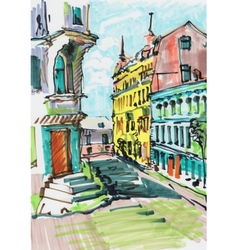 marker painting of cityscape vector image