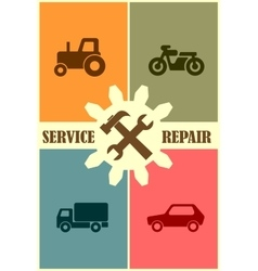 Repair fix tool icons auto vehicle customer vector image vector image
