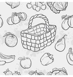 Seamless texture and vegetables fruit and baskets vector