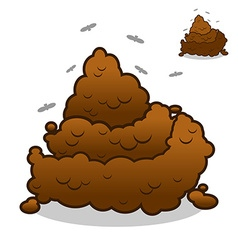 Shit and flies Poop Pile of Crap on white vector image vector image