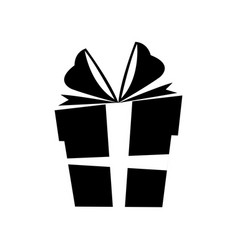 Silhouette gift box christmas with bow vector