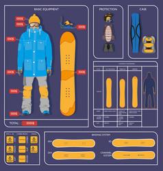 snowboarding winter sport infographics design vector image vector image