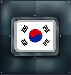 South korea flag on metalic background vector