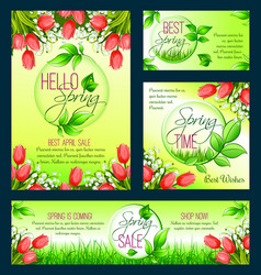 Spring sale banner template with blooming flower vector