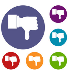 thumb down gesture icons set vector image