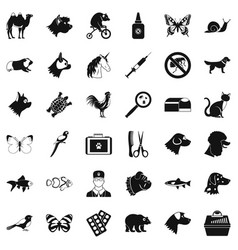 Veterinarian icons set simple style vector