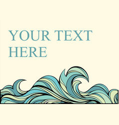 Vintage abstract card with blue stylized wave vector