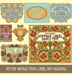 vintage items - label art nouveau vector image vector image