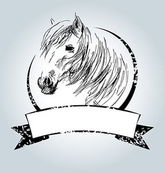 Vintage label with horse head vector image