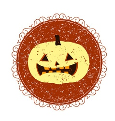Vintage sign with halloween pumpkin vector