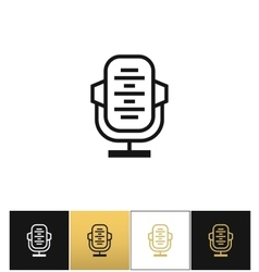 Retro microphone or stage audio record news vector