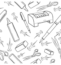 Pattern of creative hand drawn office workspace vector