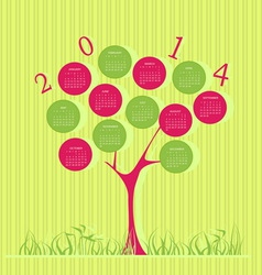 Tree calendar for 2014 year vector