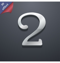 Number two icon symbol 3d style trendy modern vector