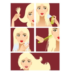 Icons set in flat design style with hair treatment vector image