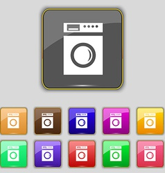 Washing machine icon sign set with eleven colored vector