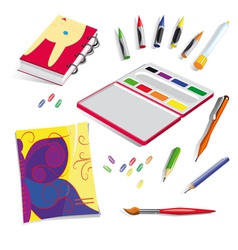 School exercise book colours vector