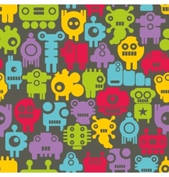 Seamless pattern with mini monsters nanobots vector