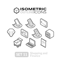 Isometric outline icons set 11 vector