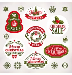 Christmas and new year decoration labels vector