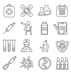 Medical vaccinations outline linear icons vector