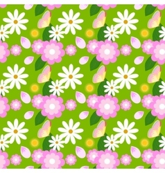 Floral spring pattern with chamomiles and vector image