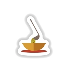 Stylish paper sticker a bowl of soup and ladle vector