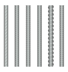 Seamless steel rebars reinforcements set vector