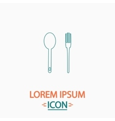 Spoon and fork computer symbol vector