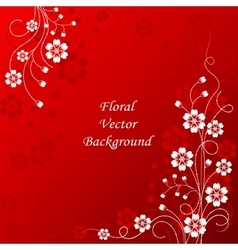 Beautiful floral pattern on red background vector image vector image