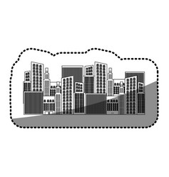 Black silhouette sticker of city buildings vector