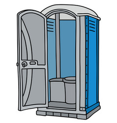 Blue and gray mobile toilet vector